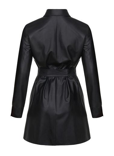 Nocturne Gömlek Yaka Deri Elbise Siyah